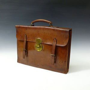 Mid Tan Leather Flap-over Briefcase