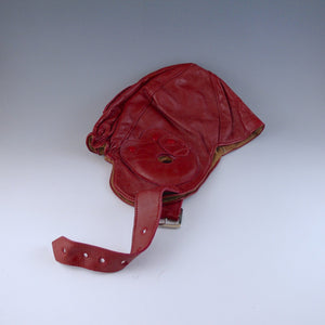 Red Leather Motoring/Flying Helmet