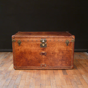 Louis Vuitton Leather Courier Trunk initialled F.E.T