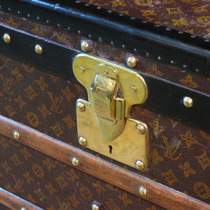 Louis Vuitton Steel Bound Monogram Pattern Steamer Trunk