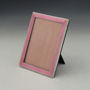 Pink Enamel and Silver Frame