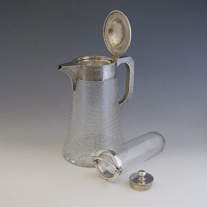 Hammered Silver and Cut Glass Lemonade Jug