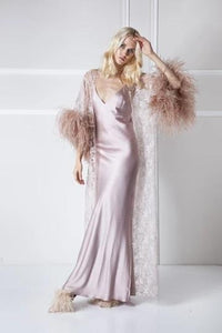 Glamorous Opulence Feather Trim  2 piece Robe & Gown