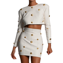 Load image into Gallery viewer, Leather-look Top and Skirt with Gold Button