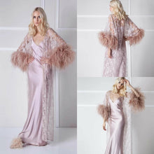 Load image into Gallery viewer, Glamorous Opulence Feather Trim  2 piece Robe & Gown - RED VALENTEEN     Luxury gifts