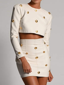 Leather-look Top and Skirt with Gold Button