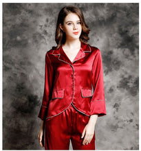 Load image into Gallery viewer, Luscious 100% Silk Pyjama  Sculpted 2 Piece Set - RED VALENTEEN     Luxury gifts