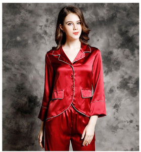 Luscious 100% Silk Pyjama  Sculpted 2 Piece Set - RED VALENTEEN     Luxury gifts