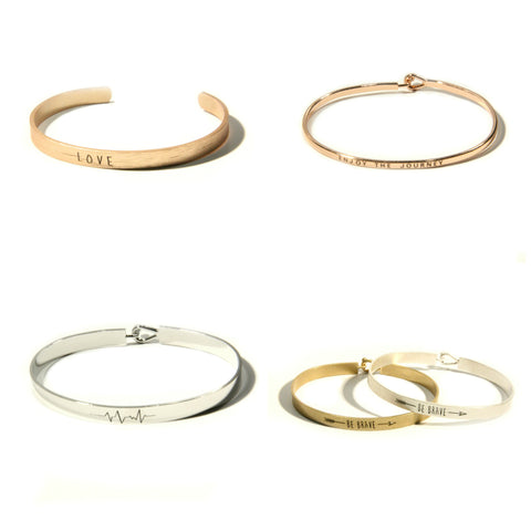 Silver, gold, rose gold bangles