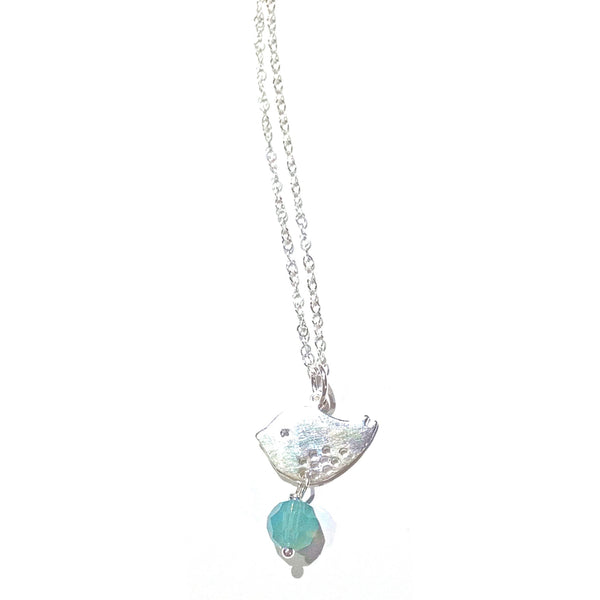 Spotted Bird and Pacific Blue Crystal Necklace, $28 | Sterling Silver | Light Years Jewelry