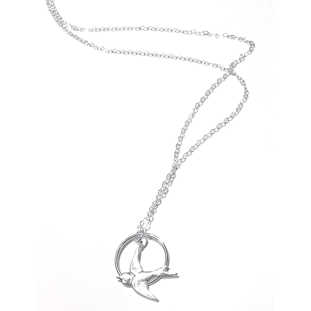 Sterling Silver Swallow in Ring Necklace, $26 | Light Years Jewelry
