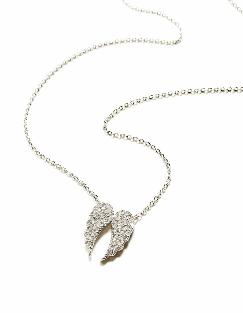 Angel Wing Necklace | Pave CZ White Gold Silver Chain | Light Years