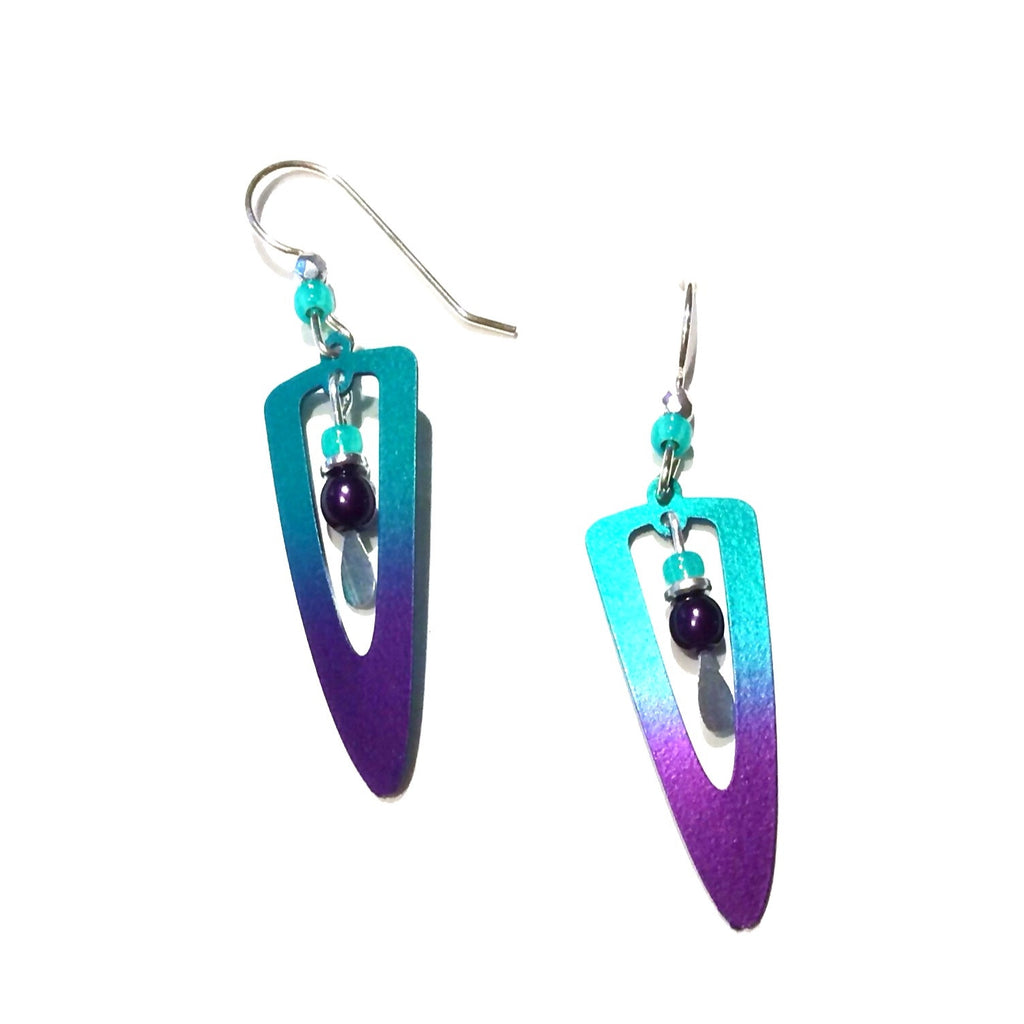 Teal to Violet Drop Earrings | Sterling Silver Dangles | Light Years