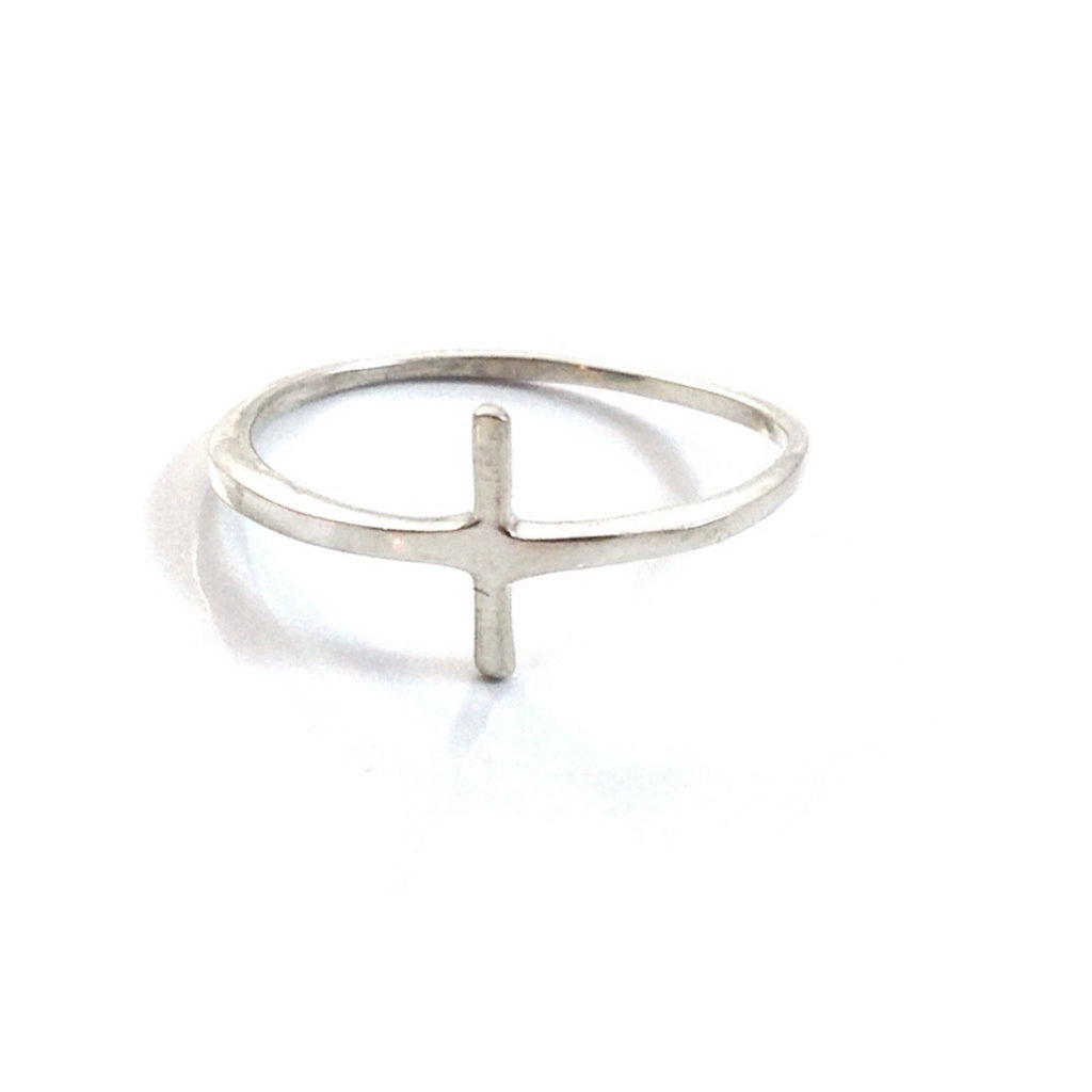 Sideways Cross Ring | Sterling Silver Size 4 5 6 7 8 | Light Years