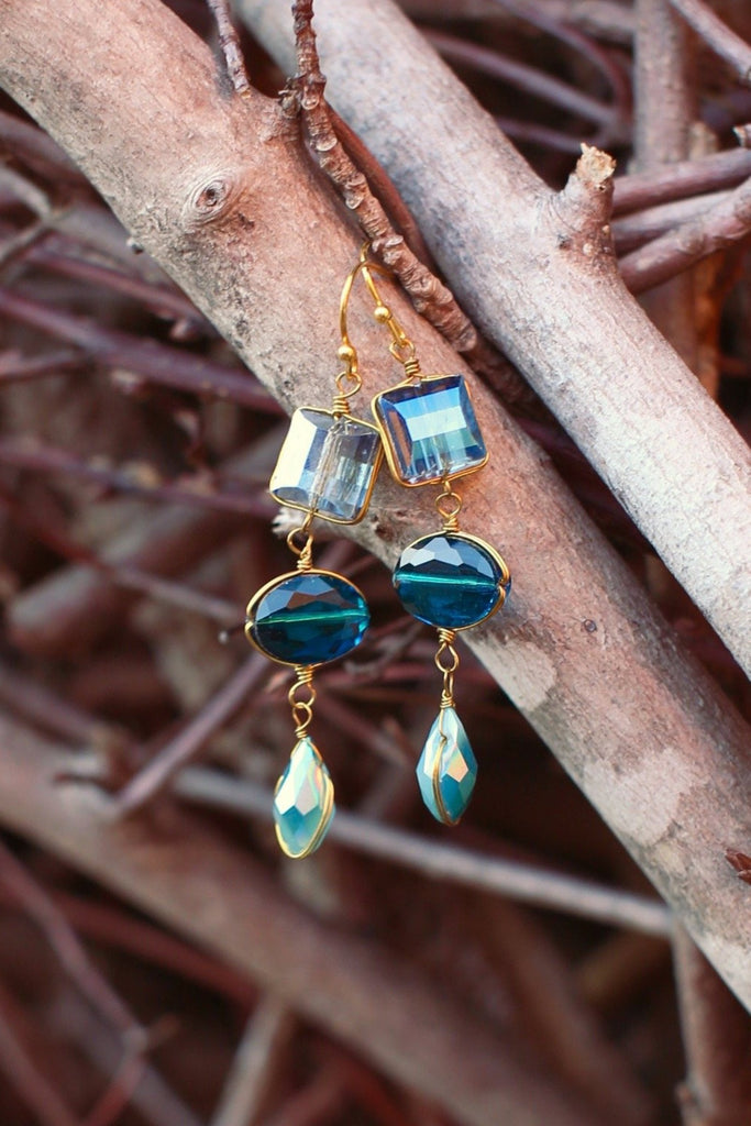 Triple Crystal Dangles, $9 | Blue Fashion Earrings | Light Years Jewelry