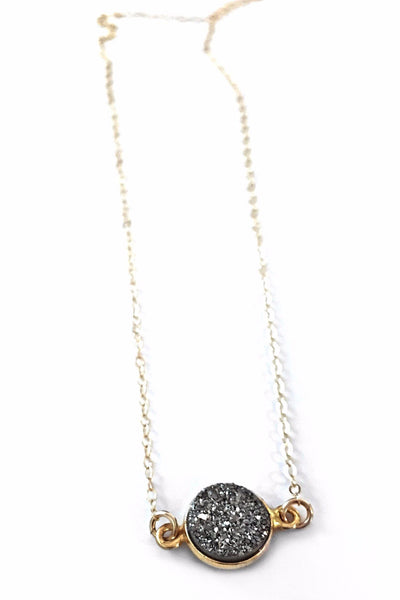 Round Druzy Necklace, $34 | Gold Chain | Light Years Jewelry