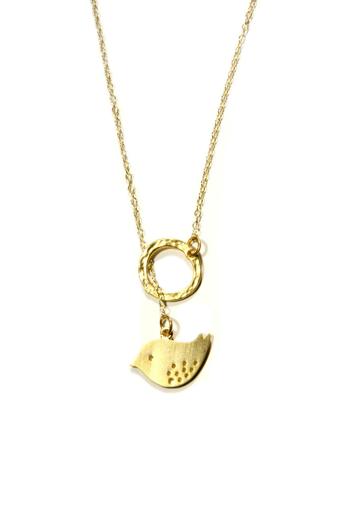 Bird in Ring Necklace, $36 | Silver or Gold | Light Years Jewelry