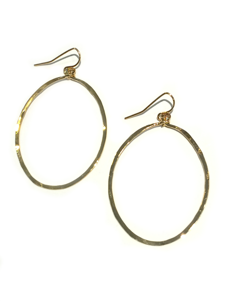 Gold Hammered Circle Dangles | Gold Plated | Light Years Jewelry