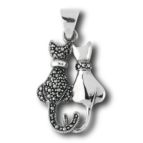 Marcasite Double Cat Pendant, $21 | Sterling Silver | Light Years