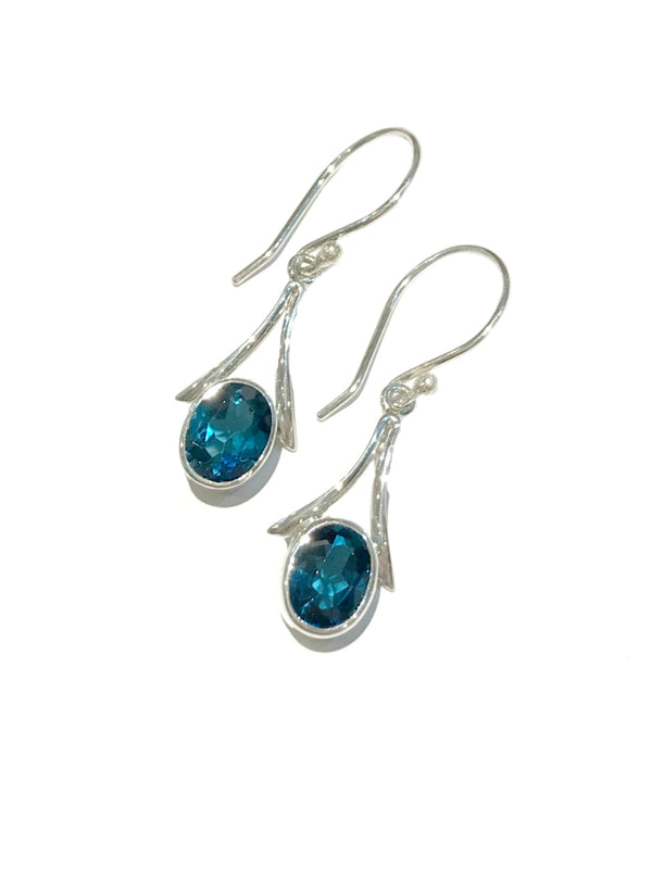 Swiss Blue Quartz Dangles | Sterling Silver Earrings Bali | Light Years
