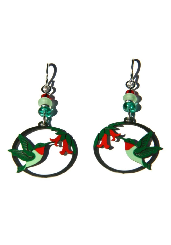 Hummingbird & Flower Earrings by Sienna Sky, $16 | Light Years Jewelry