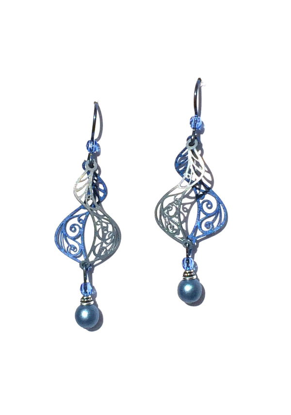 Dusty Blue Swirl Earrings by Adajio | USA Made | Light Years Jewelry