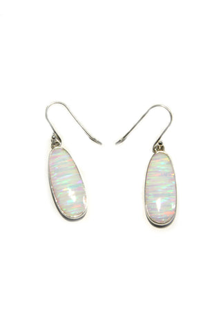 Oval White Opal Dangles, $44 | Sterling Silver | Light Years Jewelry