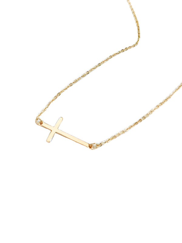 Sideways Cross Necklace | Gold Silver Fashion Chain | Light Years Jewelry