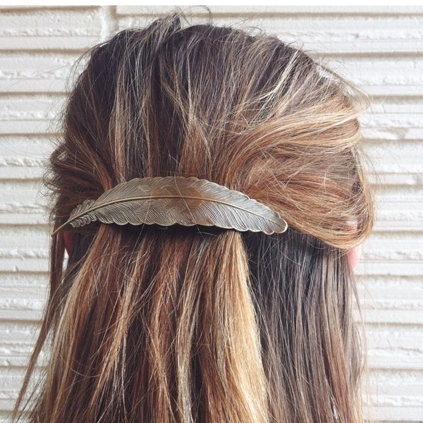 Feather French Hair Barrette | Brass or Silver | Light Years Jewelry