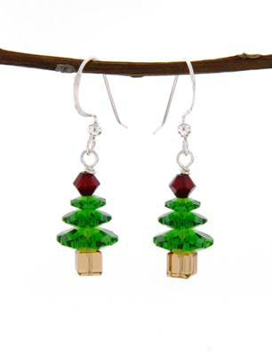 Beaded Holiday Tree Dangles | Earrings USA Sterling Silver | Light Years