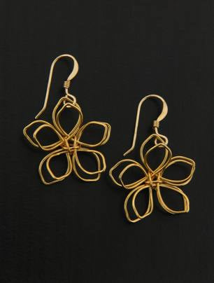 Golden Wire Flower Earrings, $18 | Gold Fill Dangles | Light Years