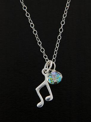 Music Note Charm Necklace | Sterling Silver Swarovski | Light Years