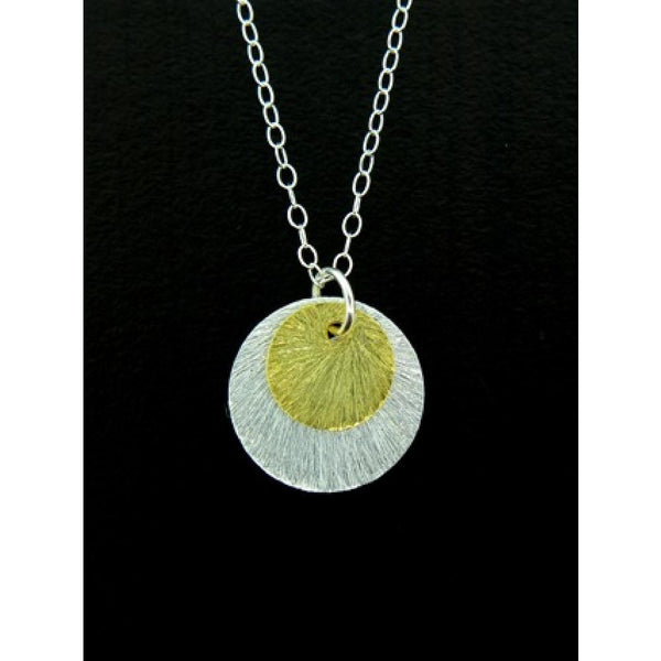 Etched Two Tone Disc Necklace | Sterling Silver | Light Years Jewelry