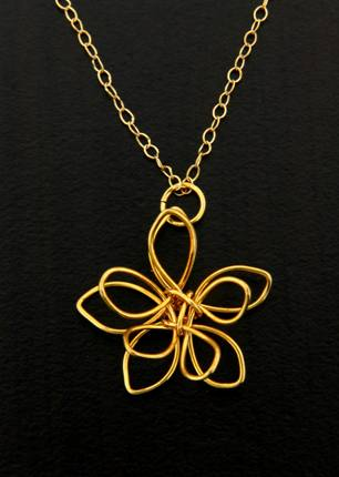 Golden Wire Flower Necklace Light Years