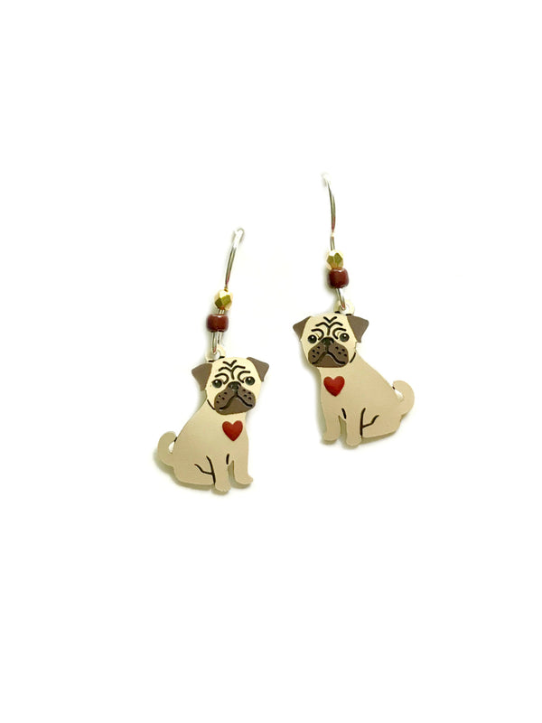 Pug Love Dangles by Sienna Sky | Sterling Silver Earrings | Light Years