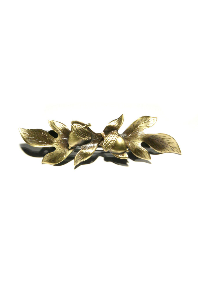 Acorn & Leaf Barrette, $17 | Brass Hair Accessory | Light Years Jewelry