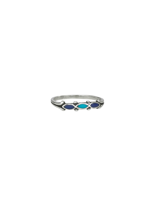 Turquoise & Lapis Band Ring | Sterling Silver Size 7 8 9 | Light Years