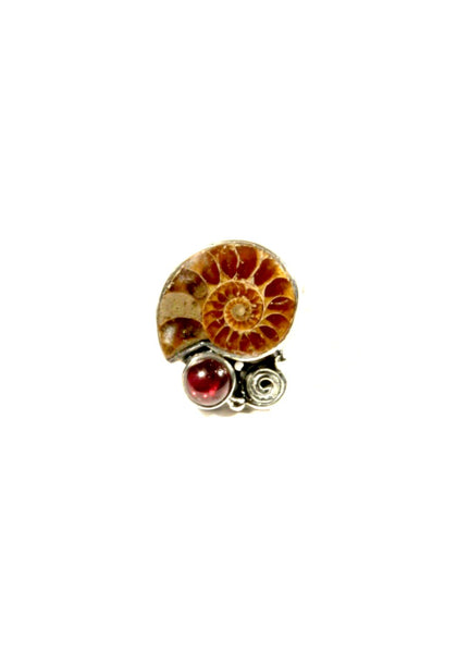 Ammonite & Garnet Ring, $56 | Sterling Silver | Light Years Jewelry