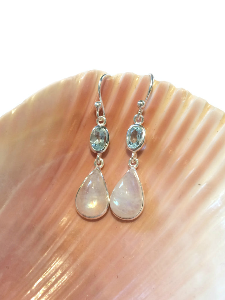 Moonstone & Blue Topaz Dangles | Sterling Silver Earrings | Light Years