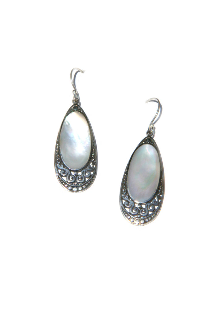 Mother of Pearl Earrings | Sterling Silver Handmade Dangles | Light Years
