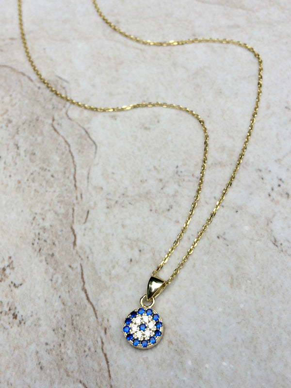Evil Eye Necklace | Gold Vermeil CZ Pendant Chain | Light Years Jewelry