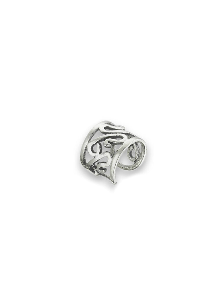 Wide Swirled Ear Cuff | Sterling Silver Earrings | Light Years Jewelry