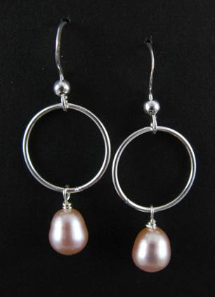 Pale Pink Pearl Dangle Earrings | Sterling Silver | Light Years Jewelry