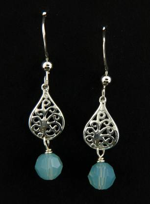 Pacific Opal Filigree Drops | Sterling Silver Earrings | Light Years