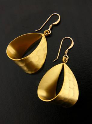 Matte Gold Ribbon Earrings, $22 | Gold Filled Dangles | Light Years