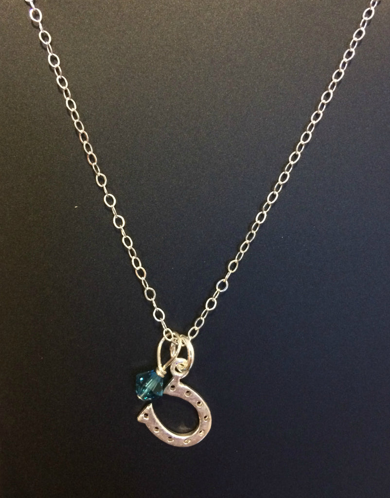 Horseshoe & Crystal Charm Necklace | Sterling Silver | Light Years
