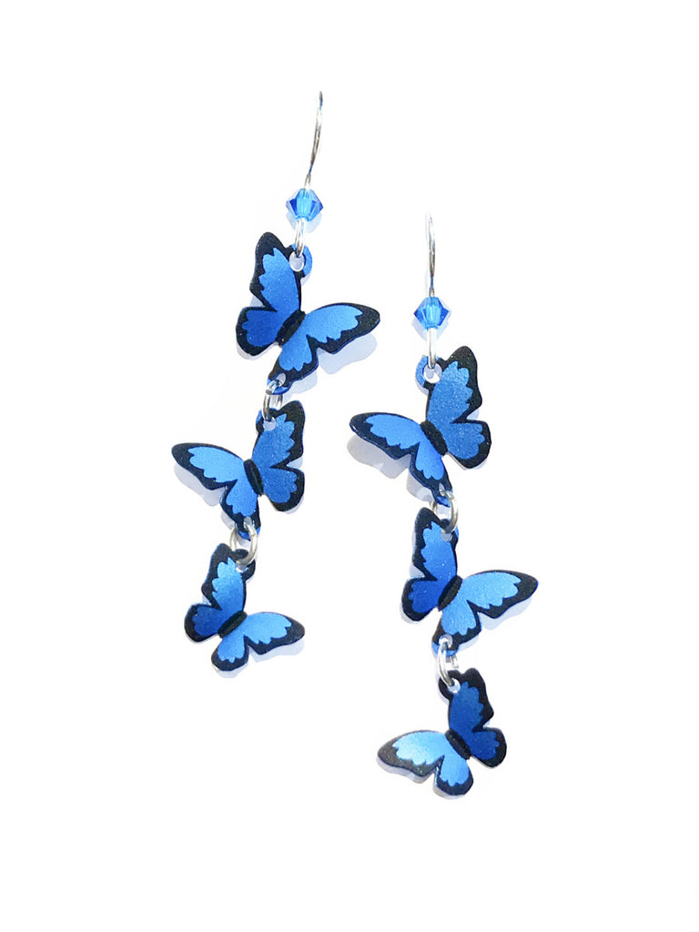 Triple Blue Butterfly Dangles by Sienna Sky | Sterling Silver Earrings | Light Years
