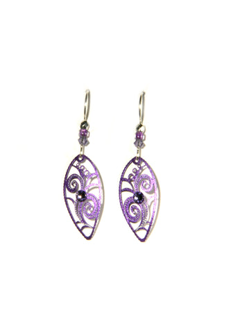 Purple Filigree Earrings by Adajio | Sterling Silver USA | Light Years