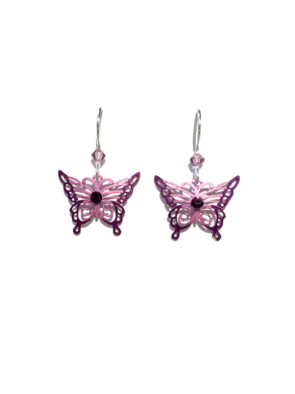 Pink Purple Butterfly Dangles Sienna Sky | Sterling Silver | Light Years