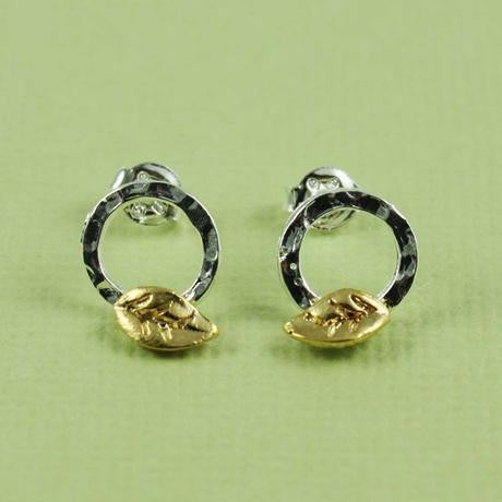 Silver Ring With Gold Leaf Posts $26 | Stud Earrings | Light Years Jewelry